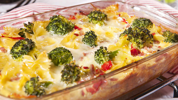 Brokkoli- og pastagrateng