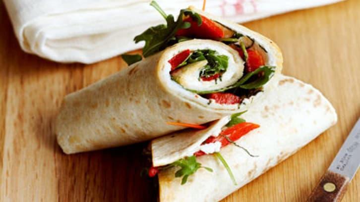 Wraps med kremost og paprika