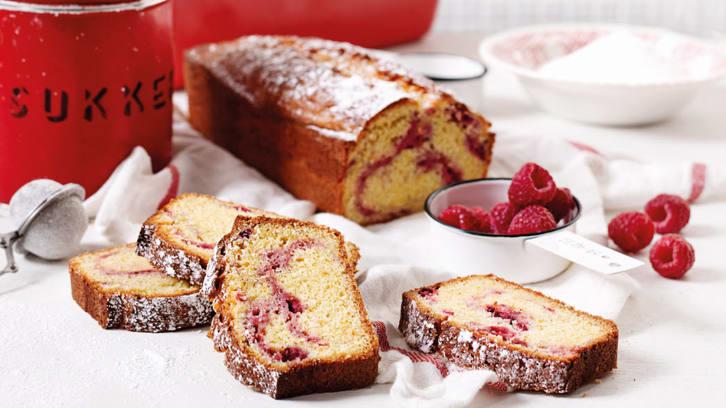 Marmorert kake med bringebær