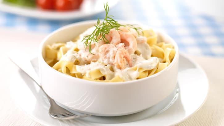 Pasta med reker og ostesaus