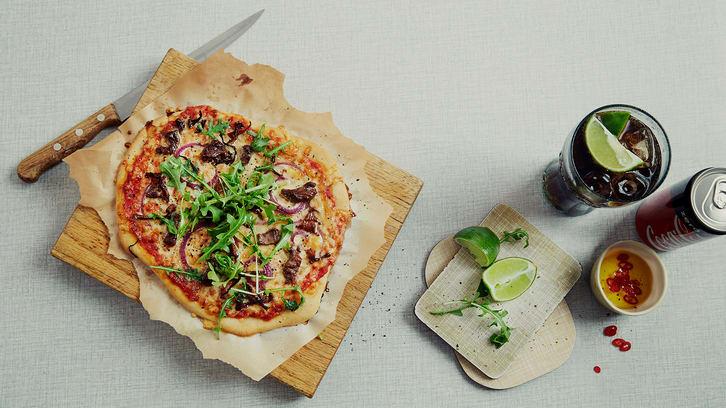 Pizza med biff