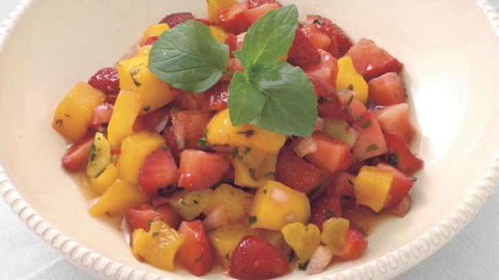 Jordbær- og mangosalsa