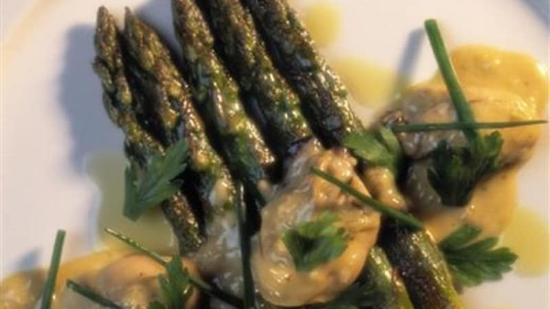 Østers med asparges