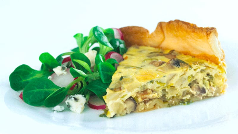 Roquefort og purreløk pai
