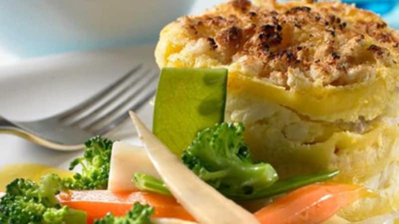 Lasagne med skrei og glaserte grønnsaker