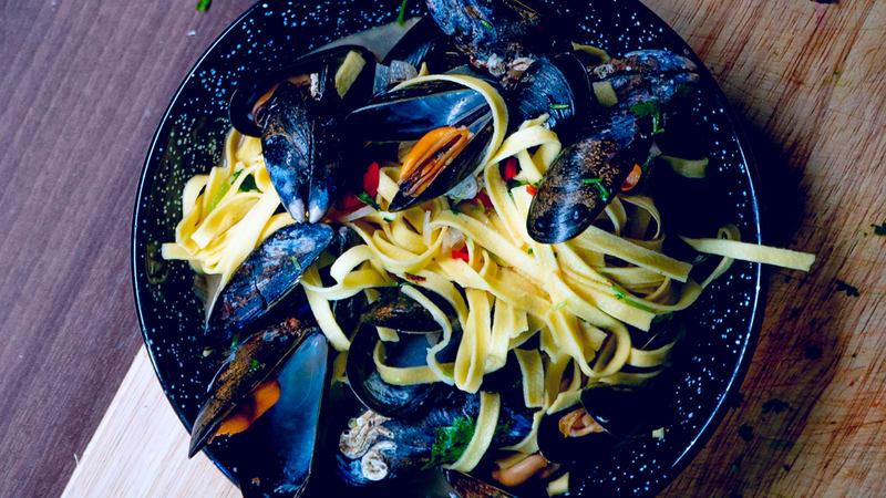 Dampede blåskjell med pasta