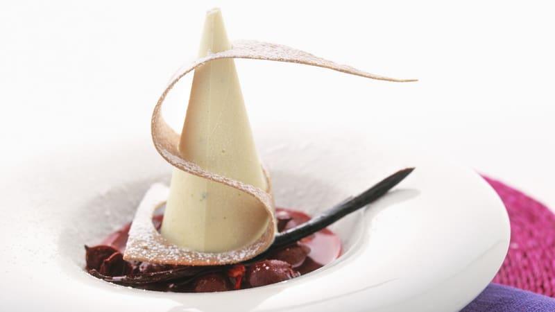 Hvit sjokolade- og limeparfait