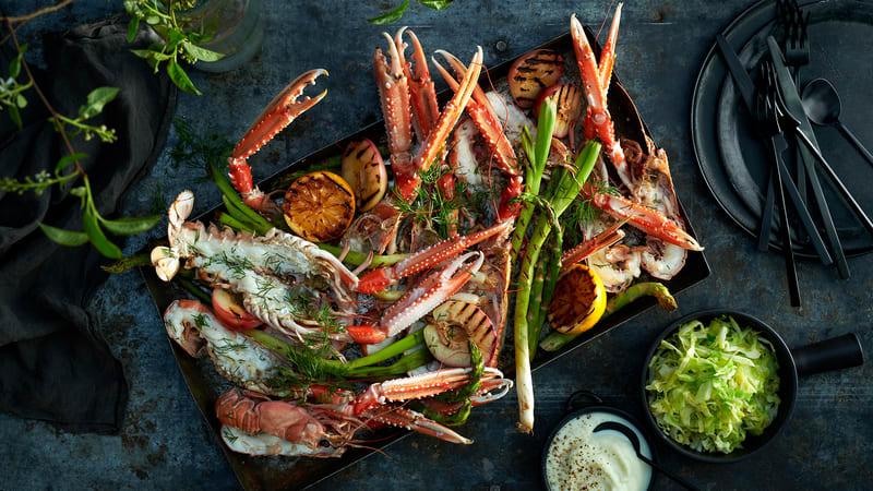 Grillede sjøkreps med blomkålpuré og grillede grønnsaker