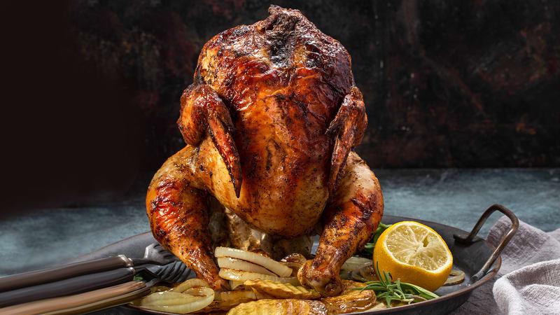 Øldampet kylling på grill - Kylling på boks