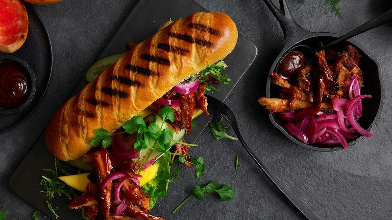 Smokey ribs brioche baguette