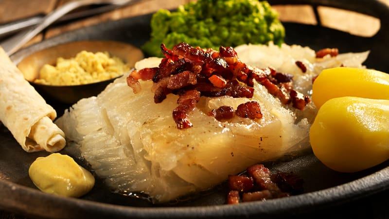 Lutefisk med baconsmør