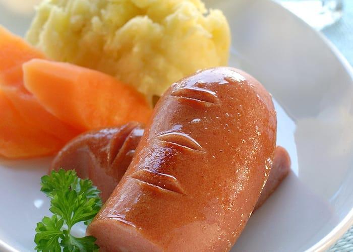 Middagspølser med potetmos til barn