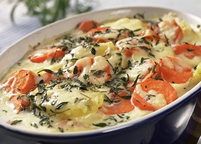 Gulrot- og potetgrateng