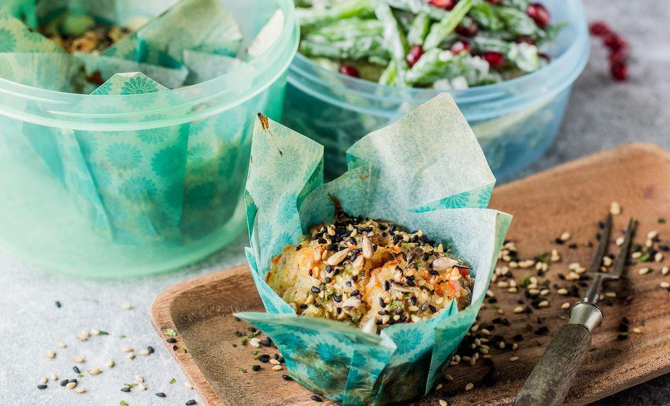 Grove matmuffins med ost og skinke