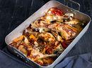 Ovnsbakte kyllinglår med rotgrønnsaker og tomater