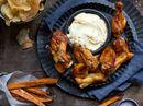 Kyllingvinger med trøffelmajones og søtpotetfries