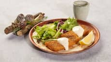 Sprøbakt torsk i tortillalefse