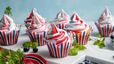 Muffins i rødt, hvitt og blått
