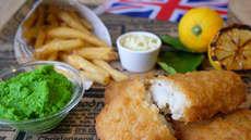 Fish & Crisp med ertepuré