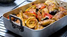 Bakt kylling med chorizo, sitron og oliven