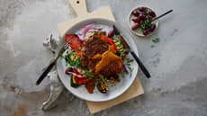 Entrecôte med grillede grønnsaker