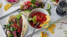 Taco med marinert entrecôte