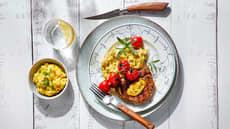 Entrecôte  med maispuré og potetmos