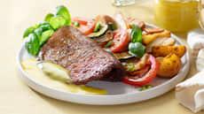 Løvbiff med ovnsbakte grønnsaker