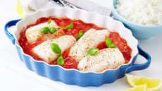 Ovnsbakt torsk i tomatsaus