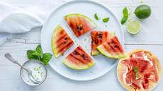 Vannmelon på grillen med spekeskinke