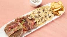 Baconsurret karbonade med sjampinjongsaus