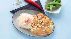 Kyllingkjøttboller med rotmos og kokossaus