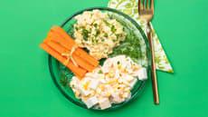 Gryte med fiskepudding og potetmos