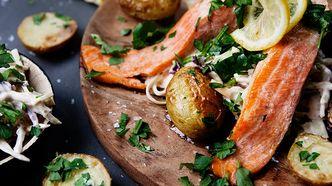 Ørret med kremet  kålsalat og nypoteter - juni