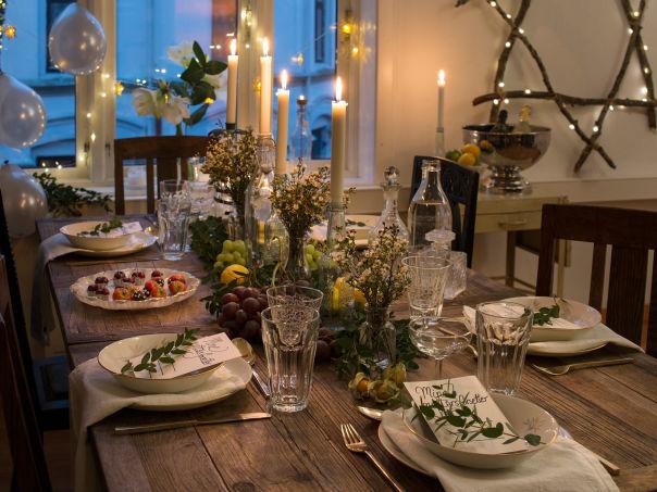 Pynt bordet til nyttårsfesten