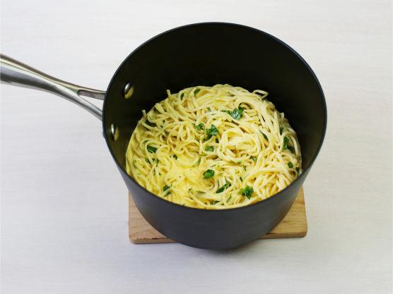 Bland løteblandingen med rykende varm spagetti, topp med grillet kylling og server.