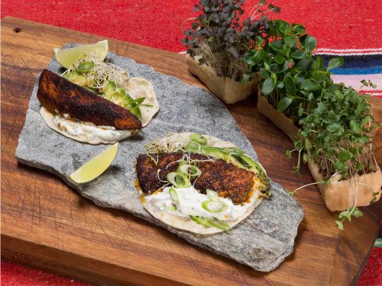 Legg en avokadobåt på hver laks, en spiseskje tzatziki over og topp med vårløk og spirer. Server gjerne med en limebåt som gjesten kan klemme over ved servering.
