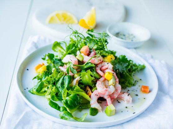 Visp sammen olivenolje og sitronsaft. Krydre dressingen med salt og pepper. Riv salaten i mindre biter.