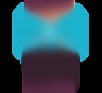 Illustrasjon av tenåringsjente som står henslengt med en blå genser med Trumf-logo på