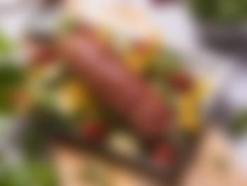 Helstekt svinefilet med grønnsaksform
