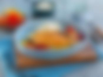 Papayamarinert laksefilet med middelhavsgrønnsaker og potetmos