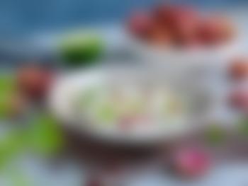 Ceviche med torsk, litchi og granateple