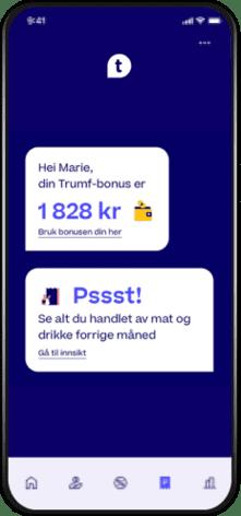 Skjermbilde av Trumf-appen som viser Trumf-salo og inngang til kostholdstjenesten