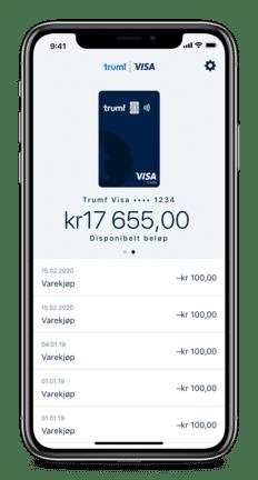 Skjermbilde av landingssiden i Trumf Visa-appen