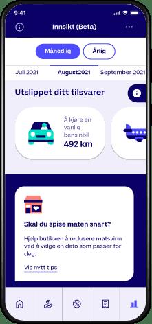 Skjermbilde av Trumf-appen hvor man ser klimaavtrykket sitt