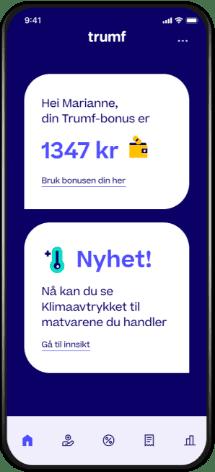 Skjermbilde av forsiden av Trumf-appen