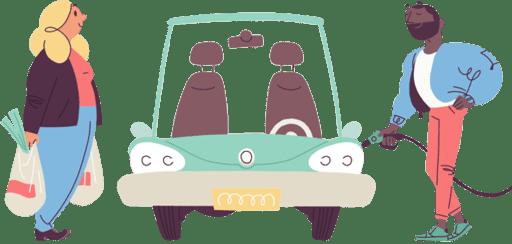 Illustrasjon av mann og dame ved en bil