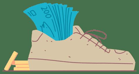 Illustrasjon av en sko med pengesedler og mynter