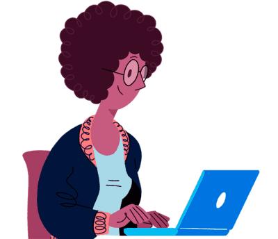 Illustrasjon av dame som sitter på PC