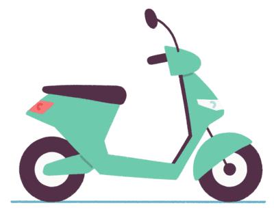 Illustrasjon av grønn scooter
